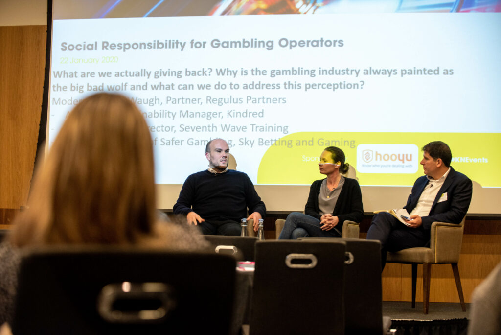 Panel discussion at 3rd Annual KnowNow conference with Dan Waugh, Partner, Regulus Partners, Anna Jein, Sustainability Manager, Kindred, Ben Wright, Head of Safer Gambling, Sky Betting & Gaming and Adrian Sladdin, Director, Seventh Wave Training