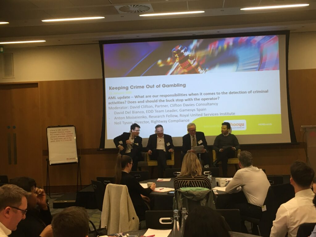 AML Update panel at 3rd Annual KnowNow Conference with David Clifton, Partner, Clifton Davies Consultancy. David Del Bianco, EDD Team Leader, Gamesys, Spain. Anton Moiseienko, Research Fellow, Royal United Services Institute and Neil Tyson, Director, Rightway Compliance.